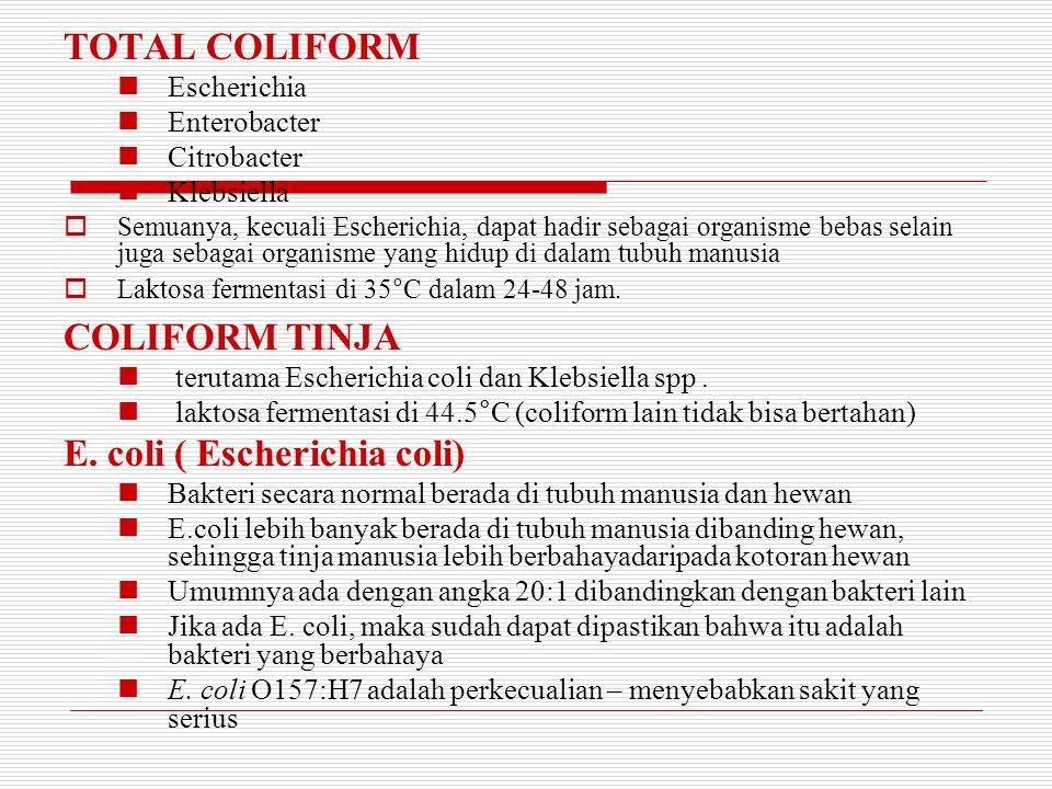Coliforms – E.Coli  Satu dari seribu bakteri dalam perut orang dewasa adalah E. coli.  Penting dilakukan tes air –sederhana saja, hanya untuk mendet