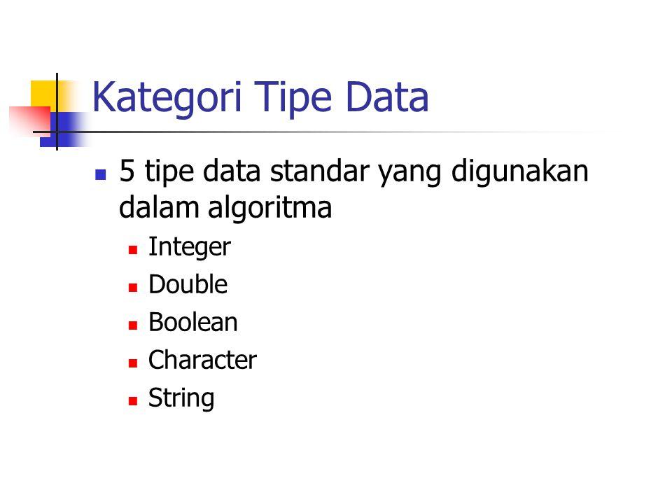 Kategori Tipe Data  5 tipe data standar yang digunakan dalam algoritma  Integer  Double  Boolean  Character  String