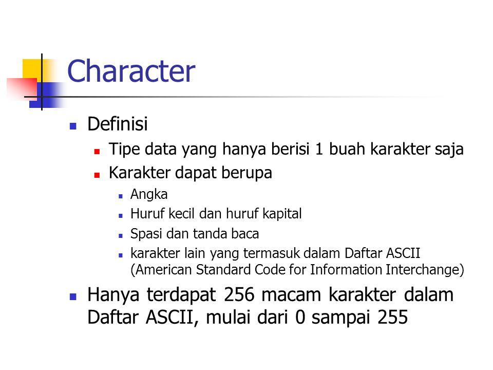 Character  Definisi  Tipe data yang hanya berisi 1 buah karakter saja  Karakter dapat berupa  Angka  Huruf kecil dan huruf kapital  Spasi dan ta