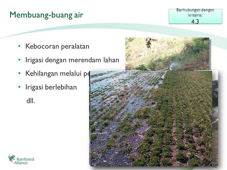 Membuang-buang air • Kebocoran peralatan • Irigasi dengan merendam lahan • Kehilangan melalui penguapan • Irigasi berlebihan dll.