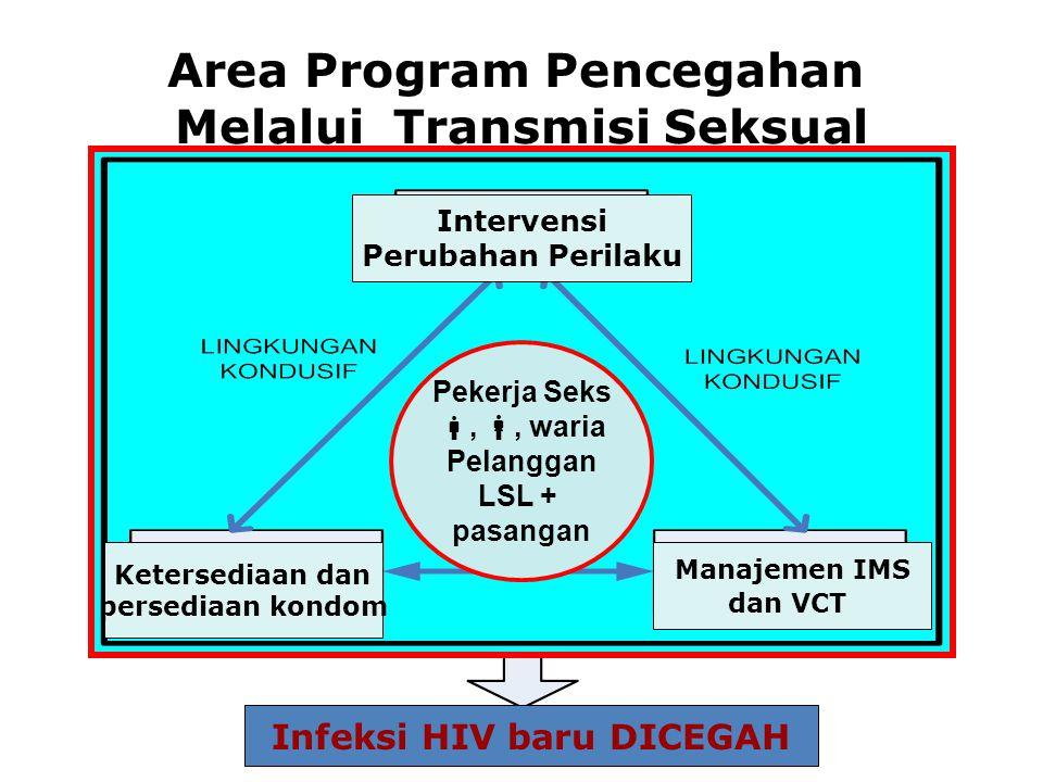 Area Program Pencegahan Melalui Transmisi Seksual Intervensi Perubahan Perilaku Ketersediaan dan persediaan kondom Manajemen IMS dan VCT Pekerja Seks