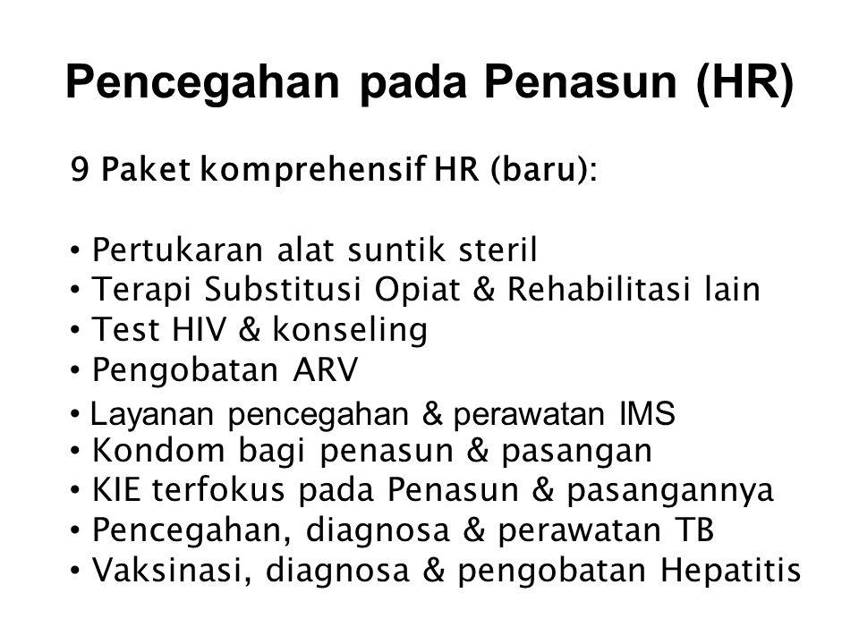 Pencegahan pada Penasun (HR) 9 Paket komprehensif HR (baru): • Pertukaran alat suntik steril • Terapi Substitusi Opiat & Rehabilitasi lain • Test HIV