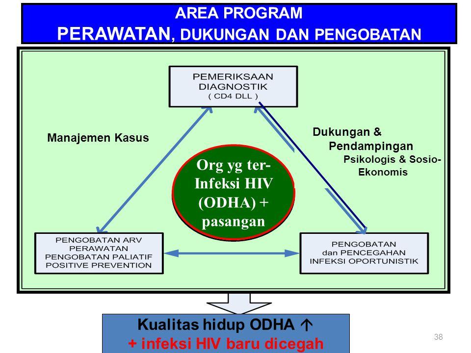 38 AREA PROGRAM PERAWATAN, DUKUNGAN DAN PENGOBATAN Org yg ter- Infeksi HIV (ODHA) + pasangan Kualitas hidup ODHA  + infeksi HIV baru dicegah Dukungan