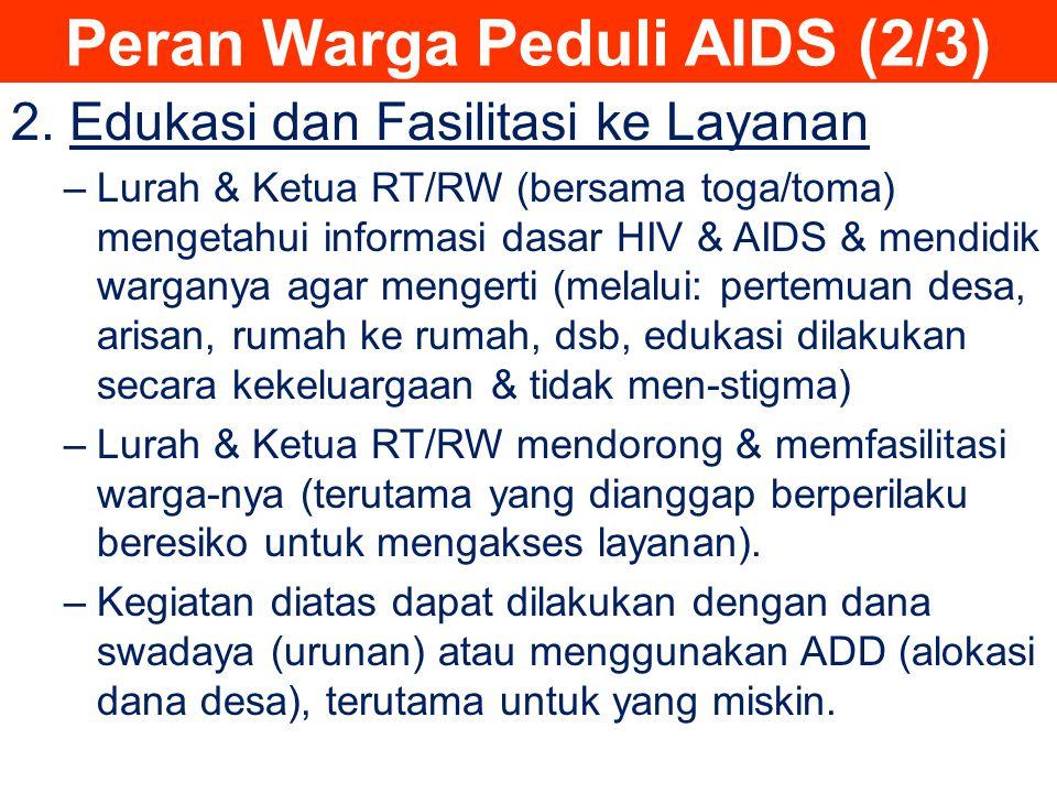 2. Edukasi dan Fasilitasi ke Layanan –Lurah & Ketua RT/RW (bersama toga/toma) mengetahui informasi dasar HIV & AIDS & mendidik warganya agar mengerti
