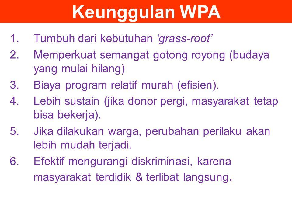 Keunggulan WPA 1.Tumbuh dari kebutuhan 'grass-root' 2.Memperkuat semangat gotong royong (budaya yang mulai hilang) 3.Biaya program relatif murah (efis