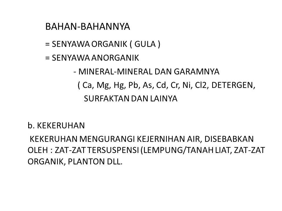 BAHAN-BAHANNYA = SENYAWA ORGANIK ( GULA ) = SENYAWA ANORGANIK - MINERAL-MINERAL DAN GARAMNYA ( Ca, Mg, Hg, Pb, As, Cd, Cr, Ni, Cl2, DETERGEN, SURFAKTA