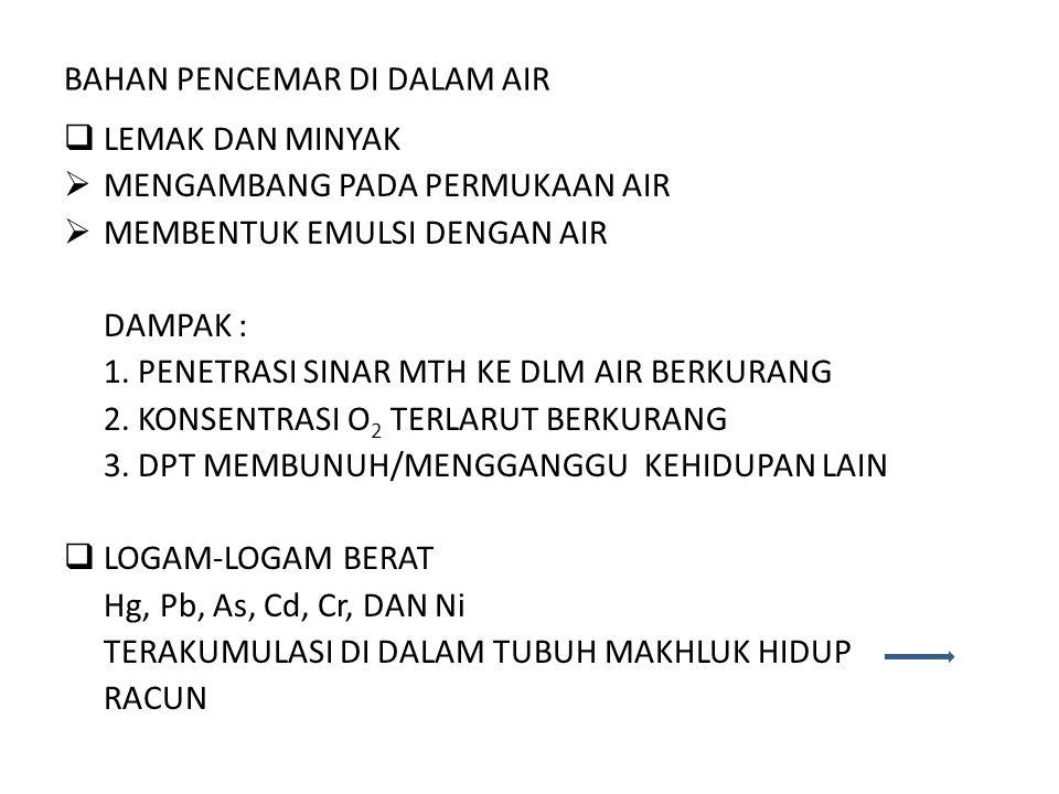 BAHAN PENCEMAR DI DALAM AIR  LEMAK DAN MINYAK  MENGAMBANG PADA PERMUKAAN AIR  MEMBENTUK EMULSI DENGAN AIR DAMPAK : 1. PENETRASI SINAR MTH KE DLM AI