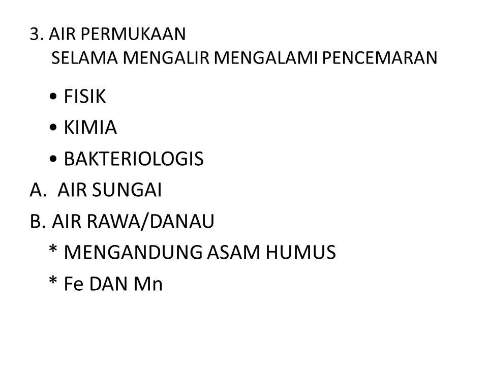 3. AIR PERMUKAAN SELAMA MENGALIR MENGALAMI PENCEMARAN • FISIK • KIMIA • BAKTERIOLOGIS A. AIR SUNGAI B. AIR RAWA/DANAU * MENGANDUNG ASAM HUMUS * Fe DAN