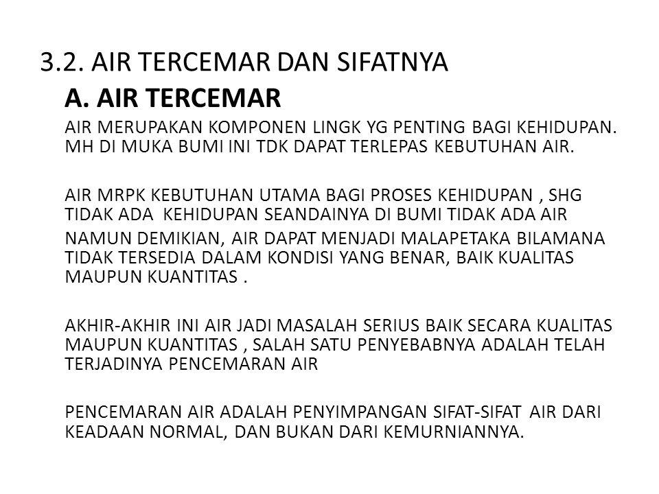 PENCEMARAN AIR : • PENCEMARAN AIR : ADALAH MASUKNYA ATAU DIMASUKKAN NYA MH, ZAT, ENERGI DAN ATAU KOMPONEN LAIN KE DLM AIR OLEH KEGIATAN MANUSIA SEHINGGA KUALITAS AIR TURUN SAMPAI KE TINGKAT TERTENTU YANG MENYEBABKAN AIR TIDAK BERFUNGSI LAGI SESUAI DENGAN PERUNTUKAN NYA.