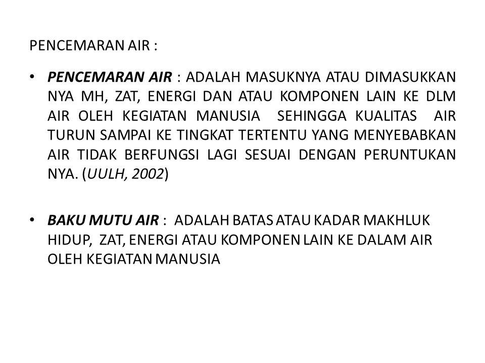 PENCEMARAN AIR : • PENCEMARAN AIR : ADALAH MASUKNYA ATAU DIMASUKKAN NYA MH, ZAT, ENERGI DAN ATAU KOMPONEN LAIN KE DLM AIR OLEH KEGIATAN MANUSIA SEHING