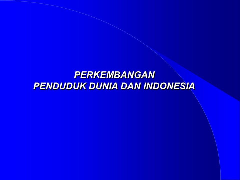 PERKEMBANGAN PENDUDUK DUNIA DAN INDONESIA PERKEMBANGAN PENDUDUK DUNIA DAN INDONESIA