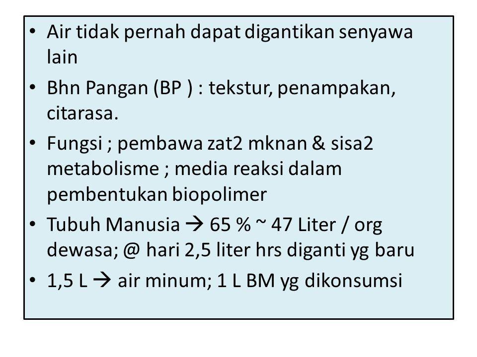• Air tidak pernah dapat digantikan senyawa lain • Bhn Pangan (BP ) : tekstur, penampakan, citarasa. • Fungsi ; pembawa zat2 mknan & sisa2 metabolisme