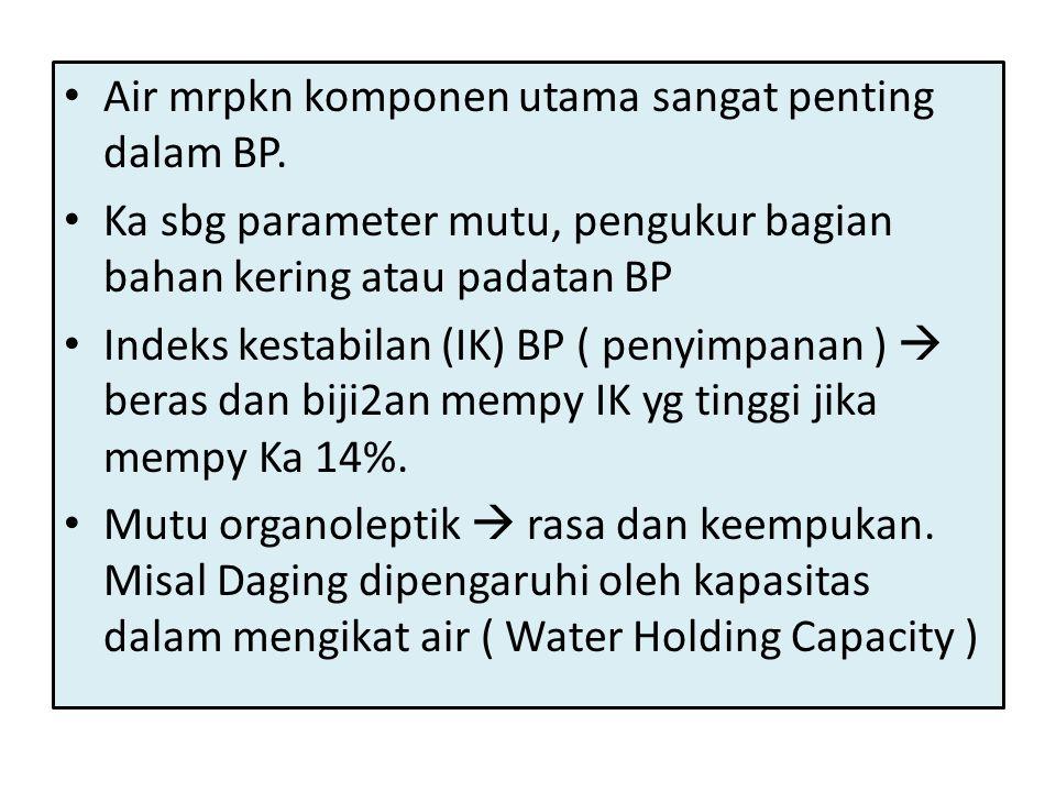 • Air mrpkn komponen utama sangat penting dalam BP. • Ka sbg parameter mutu, pengukur bagian bahan kering atau padatan BP • Indeks kestabilan (IK) BP