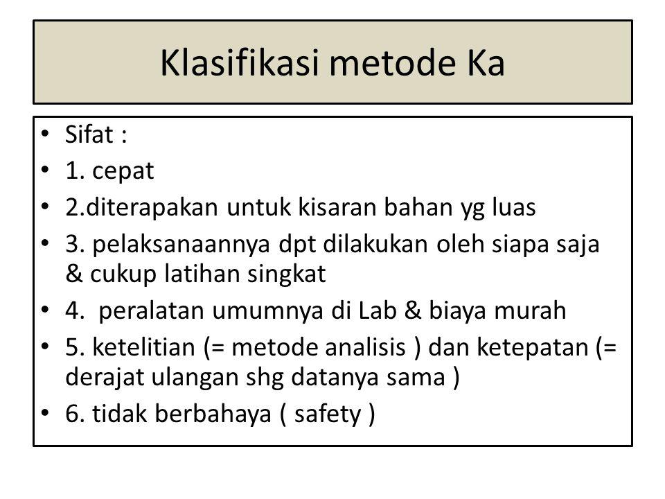 Klasifikasi metode Ka • Sifat : • 1. cepat • 2.diterapakan untuk kisaran bahan yg luas • 3. pelaksanaannya dpt dilakukan oleh siapa saja & cukup latih