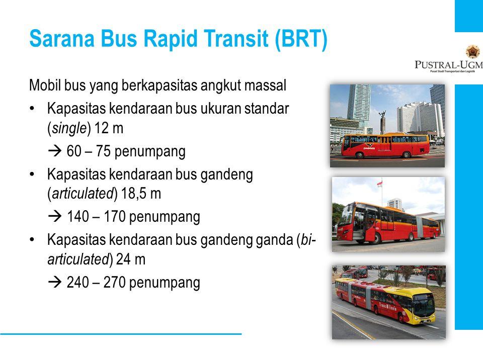 Sarana Bus Rapid Transit (BRT) Mobil bus yang berkapasitas angkut massal • Kapasitas kendaraan bus ukuran standar ( single ) 12 m  60 – 75 penumpang