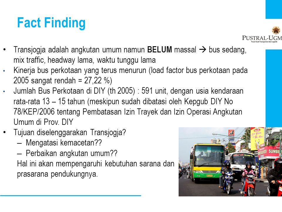 Fact Finding • Transjogja adalah angkutan umum namun BELUM massal  bus sedang, mix traffic, headway lama, waktu tunggu lama • Kinerja bus perkotaan y