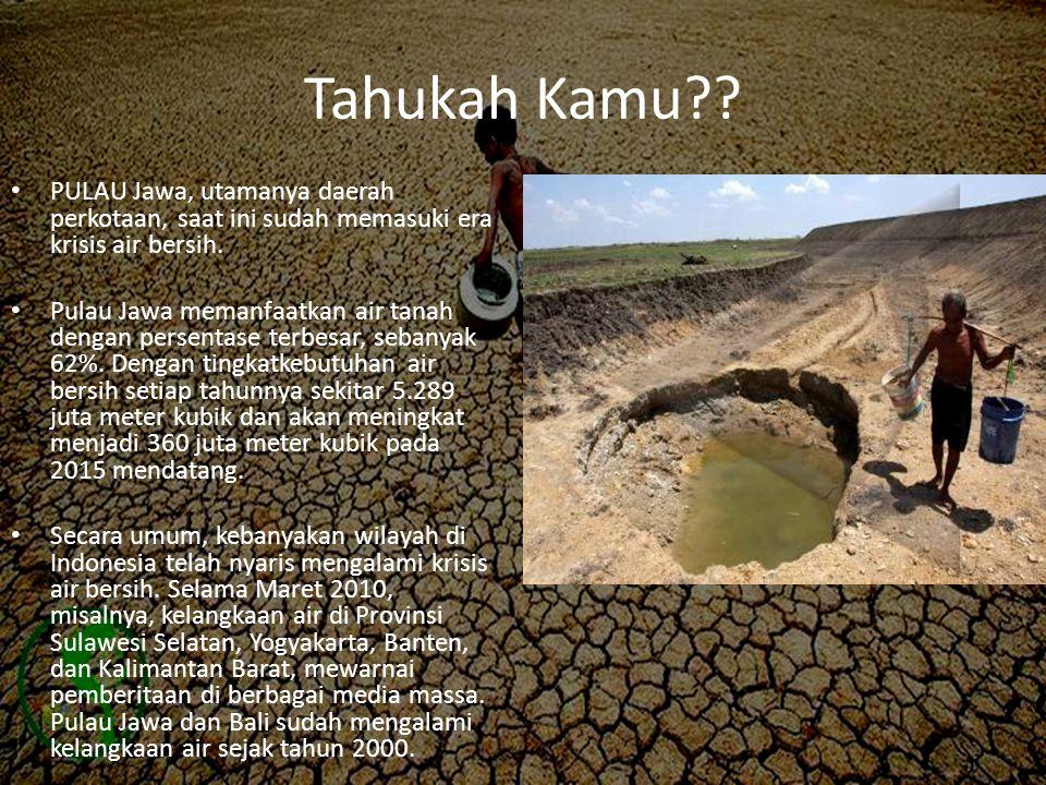 Tahukah Kamu?? • PULAU Jawa, utamanya daerah perkotaan, saat ini sudah memasuki era krisis air bersih. • Pulau Jawa memanfaatkan air tanah dengan pers
