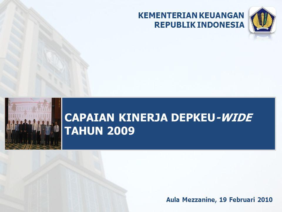 Aula Mezzanine, 19 Februari 2010 CAPAIAN KINERJA DEPKEU-WIDE TAHUN 2009 KEMENTERIAN KEUANGAN REPUBLIK INDONESIA