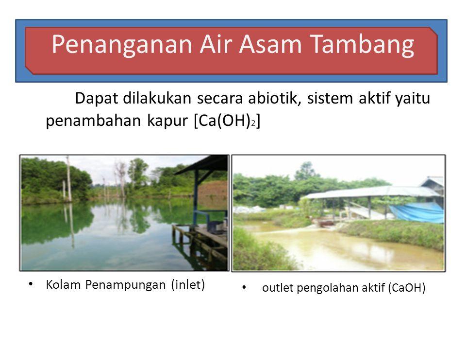 Penanganan Air Asam Tambang Dapat dilakukan secara abiotik, sistem aktif yaitu penambahan kapur [Ca(OH) 2 ] • Kolam Penampungan (inlet) • outlet pengo