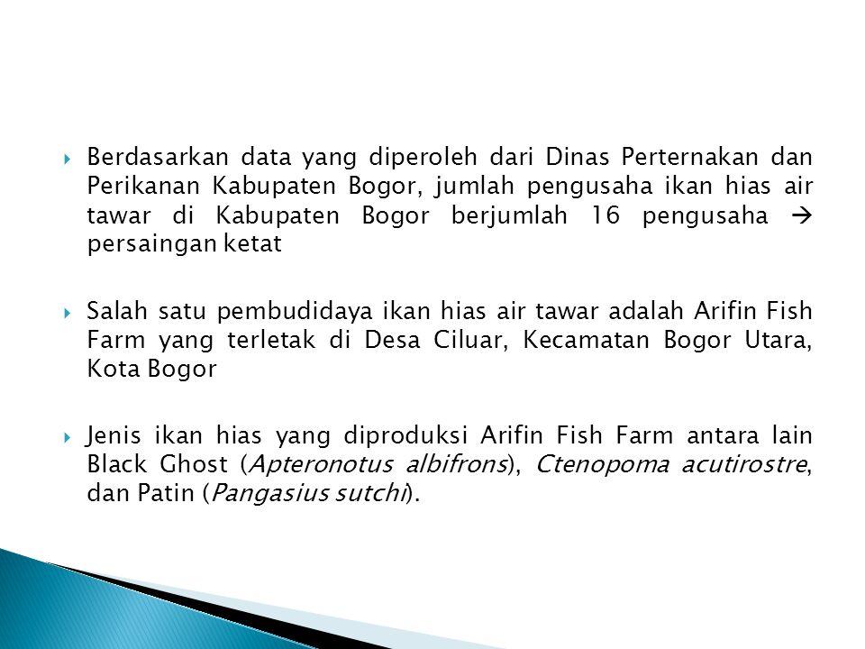  Berdasarkan data yang diperoleh dari Dinas Perternakan dan Perikanan Kabupaten Bogor, jumlah pengusaha ikan hias air tawar di Kabupaten Bogor berjum