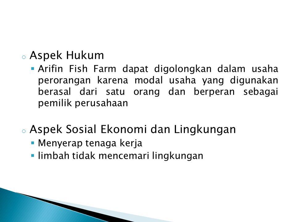 o Aspek Hukum  Arifin Fish Farm dapat digolongkan dalam usaha perorangan karena modal usaha yang digunakan berasal dari satu orang dan berperan sebag
