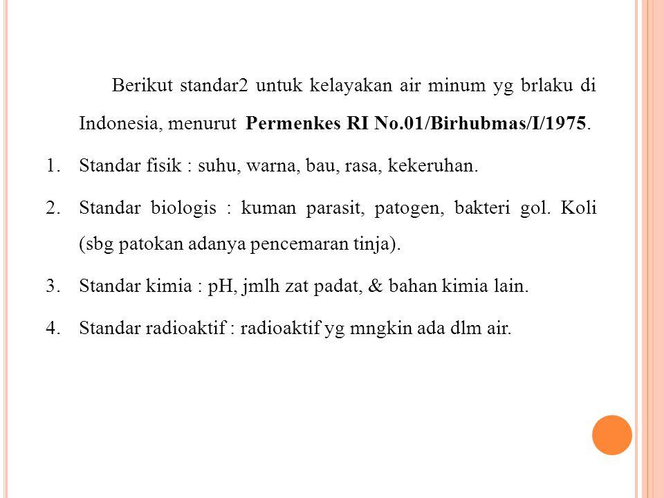 Berikut standar2 untuk kelayakan air minum yg brlaku di Indonesia, menurut Permenkes RI No.01/Birhubmas/I/1975. 1.Standar fisik : suhu, warna, bau, ra
