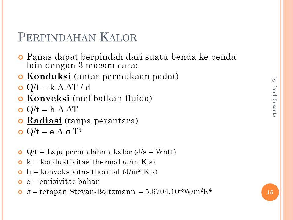 P ERPINDAHAN K ALOR Panas dapat berpindah dari suatu benda ke benda lain dengan 3 macam cara: Konduksi (antar permukaan padat) Q/t = k.A.ΔT / d Konveksi (melibatkan fluida) Q/t = h.A.ΔT Radiasi (tanpa perantara) Q/t = e.A.σ.T 4 Q/t = Laju perpindahan kalor (J/s = Watt) k = konduktivitas thermal (J/m K s) h = konveksivitas thermal (J/m 2 K s) e = emisivitas bahan σ = tetapan Stevan-Boltzmann = 5.6704.10 -8 W/m 2 K 4 15 by Fandi Susanto