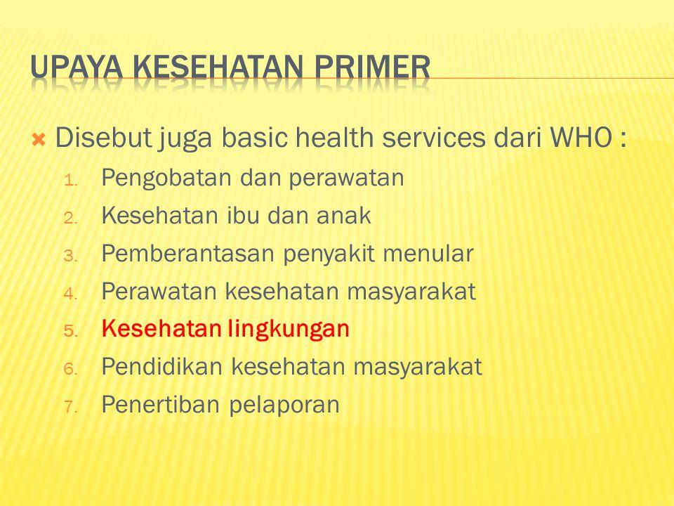  Disebut juga basic health services dari WHO : 1.
