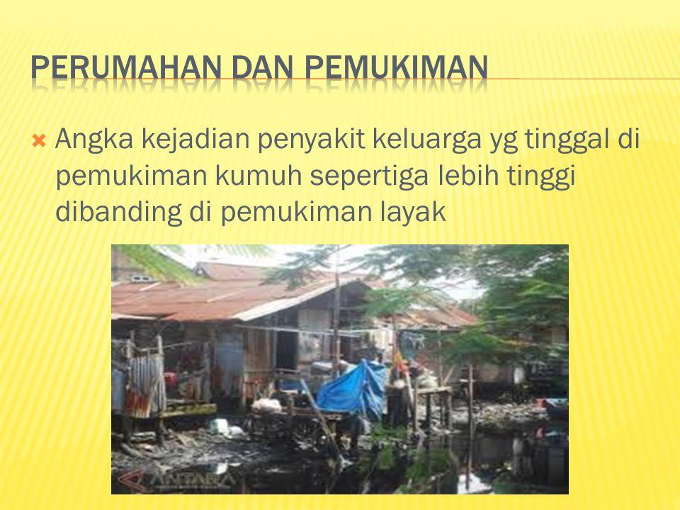  Angka kejadian penyakit keluarga yg tinggal di pemukiman kumuh sepertiga lebih tinggi dibanding di pemukiman layak