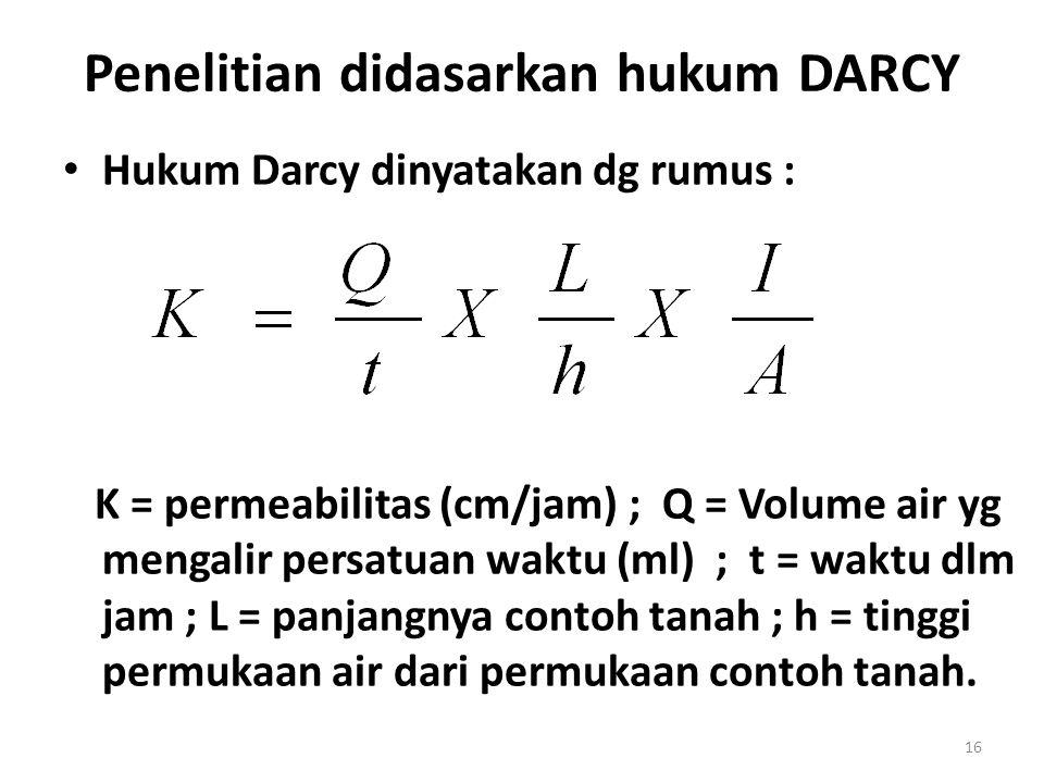 Penelitian didasarkan hukum DARCY • Hukum Darcy dinyatakan dg rumus : K = permeabilitas (cm/jam) ; Q = Volume air yg mengalir persatuan waktu (ml) ; t