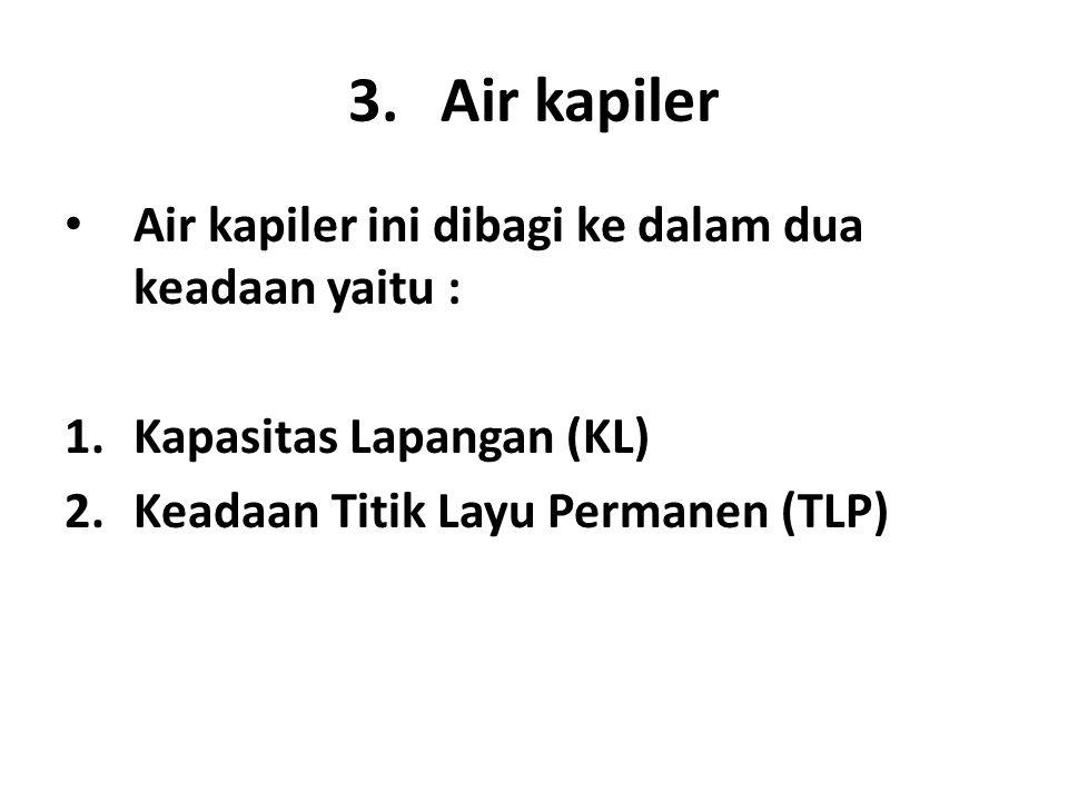 3.Air kapiler • Air kapiler ini dibagi ke dalam dua keadaan yaitu : 1.Kapasitas Lapangan (KL) 2.Keadaan Titik Layu Permanen (TLP)