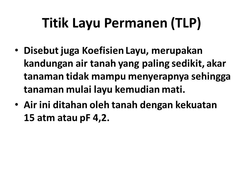 Titik Layu Permanen (TLP) • Disebut juga Koefisien Layu, merupakan kandungan air tanah yang paling sedikit, akar tanaman tidak mampu menyerapnya sehin