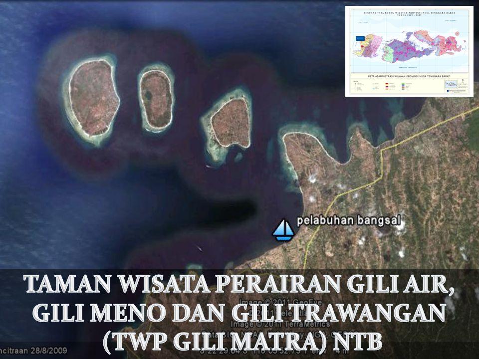 Profil Kawasan Gili Trawangan (340 Ha) Keliling pulau ± 7,5 km Gili Meno (150 Ha) Keliling pulau ± 4 km Gili Air (175 Ha) Keliling pulau ± 5 km Luas kawasan 2.954 Ha.