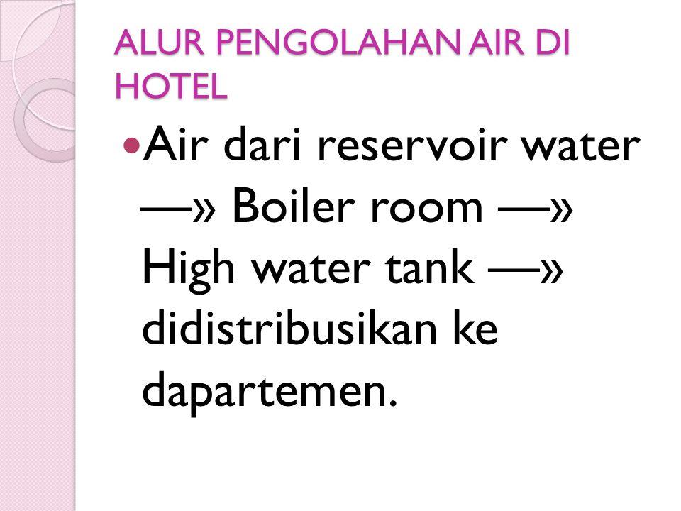 ALUR PENGOLAHAN AIR DI HOTEL  Air dari reservoir water —» Boiler room —» High water tank —» didistribusikan ke dapartemen.