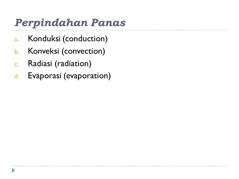 Perpindahan Panas a.Konduksi (conduction) b. Konveksi (convection) c.
