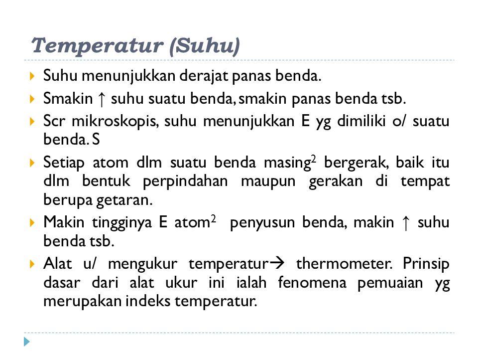 Macam-macam termometer  Termometer air raksa/alkohol  Termometer tahanan (termistor termometer)  Termometer elemen (termocouple)  Pyrometer optik  Termometer gas yang bervolume tetap