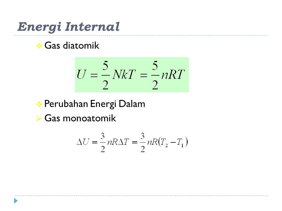  Gas diatomik  Perubahan Energi Dalam  Gas monoatomik Energi Internal