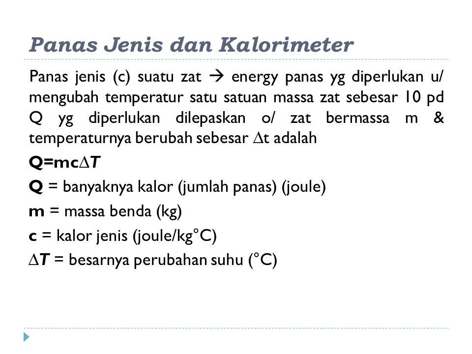 Panas Jenis dan Kalorimeter Panas jenis (c) suatu zat  energy panas yg diperlukan u/ mengubah temperatur satu satuan massa zat sebesar 10 pd Q yg diperlukan dilepaskan o/ zat bermassa m & temperaturnya berubah sebesar ∆t adalah Q=mc∆T Q = banyaknya kalor (jumlah panas) (joule) m = massa benda (kg) c = kalor jenis (joule/kg°C) ∆T = besarnya perubahan suhu (°C)