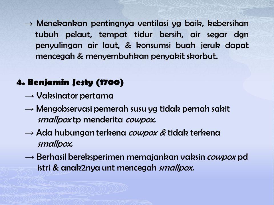 → Menekankan pentingnya ventilasi yg baik, kebersihan tubuh pelaut, tempat tidur bersih, air segar dgn penyulingan air laut, & konsumsi buah jeruk dap