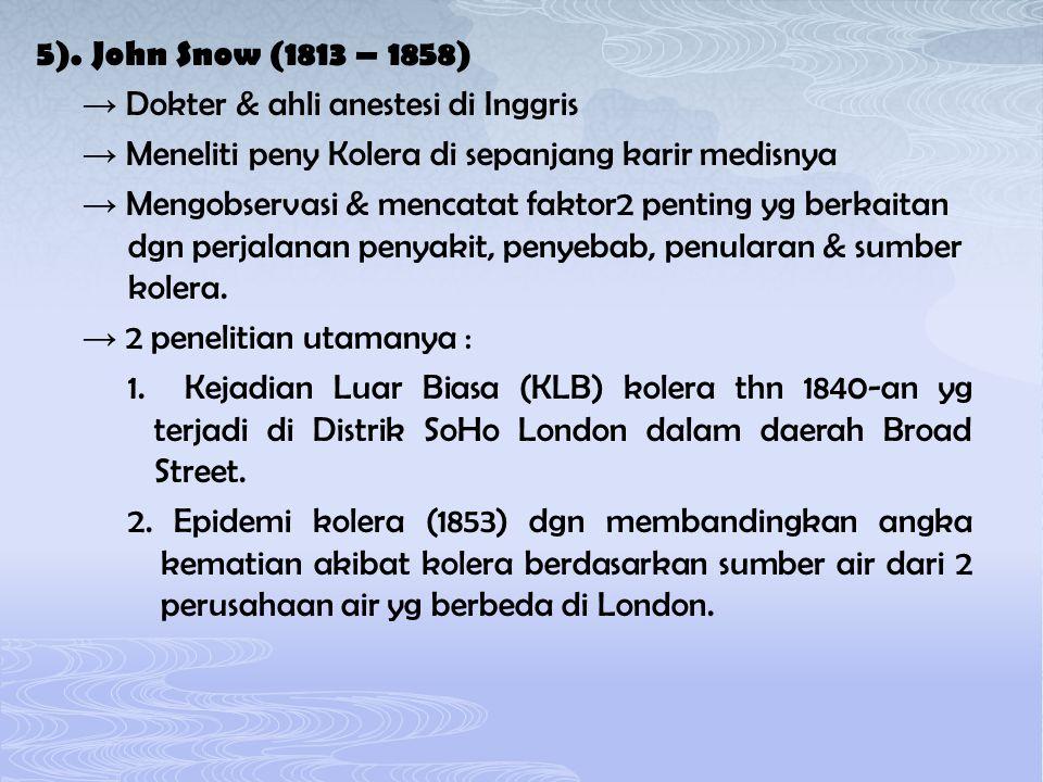 5). John Snow (1813 – 1858) → Dokter & ahli anestesi di Inggris → Meneliti peny Kolera di sepanjang karir medisnya → Mengobservasi & mencatat faktor2