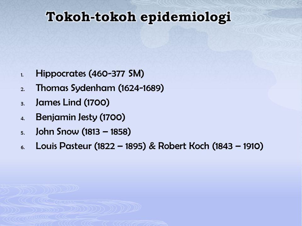 1. Hippocrates (460-377 SM) 2. Thomas Sydenham (1624-1689) 3. James Lind (1700) 4. Benjamin Jesty (1700) 5. John Snow (1813 – 1858) 6. Louis Pasteur (