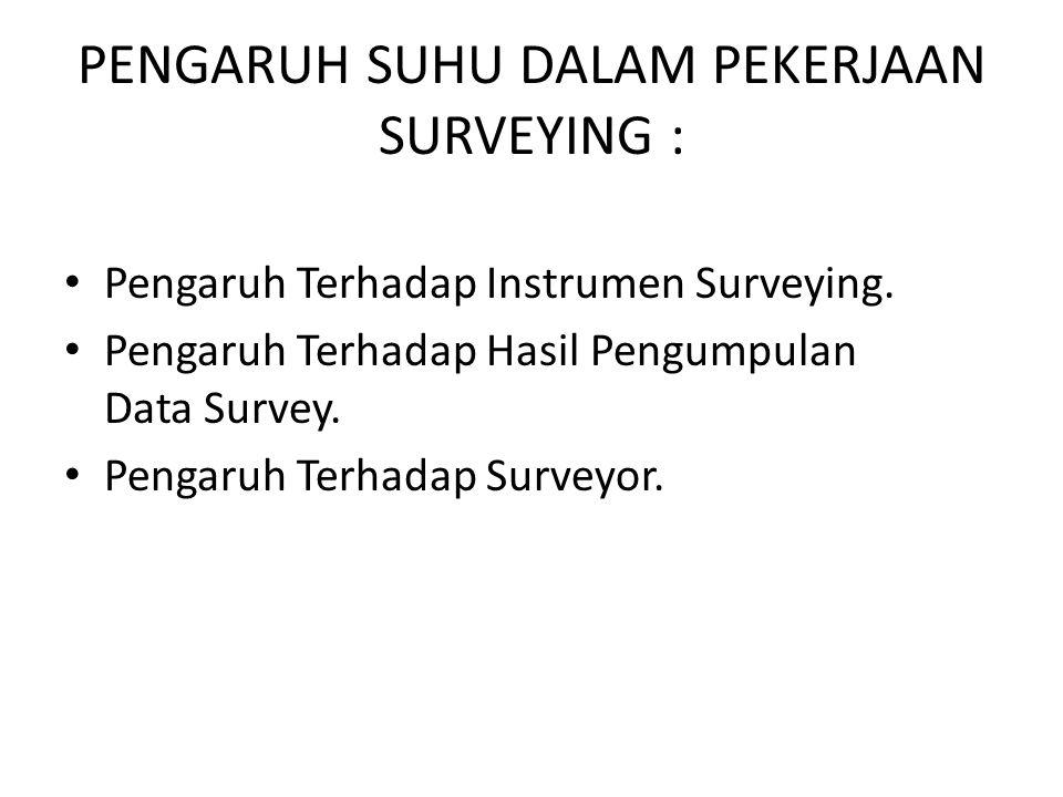 PENGARUH SUHU DALAM PEKERJAAN SURVEYING : • Pengaruh Terhadap Instrumen Surveying.