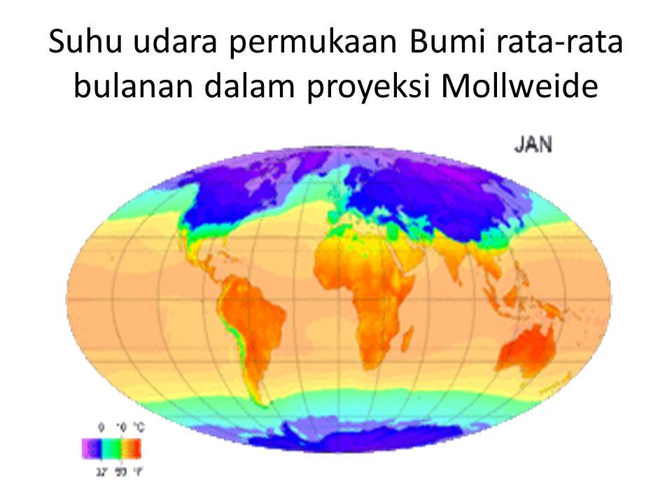 Suhu udara permukaan Bumi rata-rata bulanan dalam proyeksi Mollweide