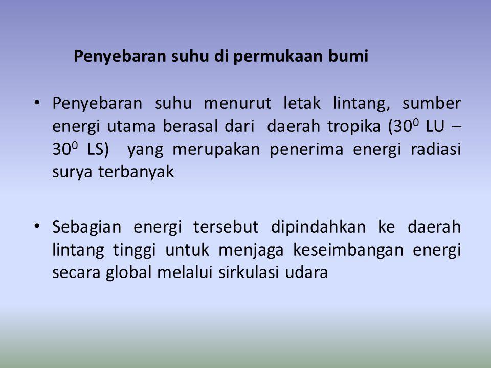 Penyebaran suhu di permukaan bumi • Penyebaran suhu menurut letak lintang, sumber energi utama berasal dari daerah tropika (30 0 LU – 30 0 LS) yang merupakan penerima energi radiasi surya terbanyak • Sebagian energi tersebut dipindahkan ke daerah lintang tinggi untuk menjaga keseimbangan energi secara global melalui sirkulasi udara