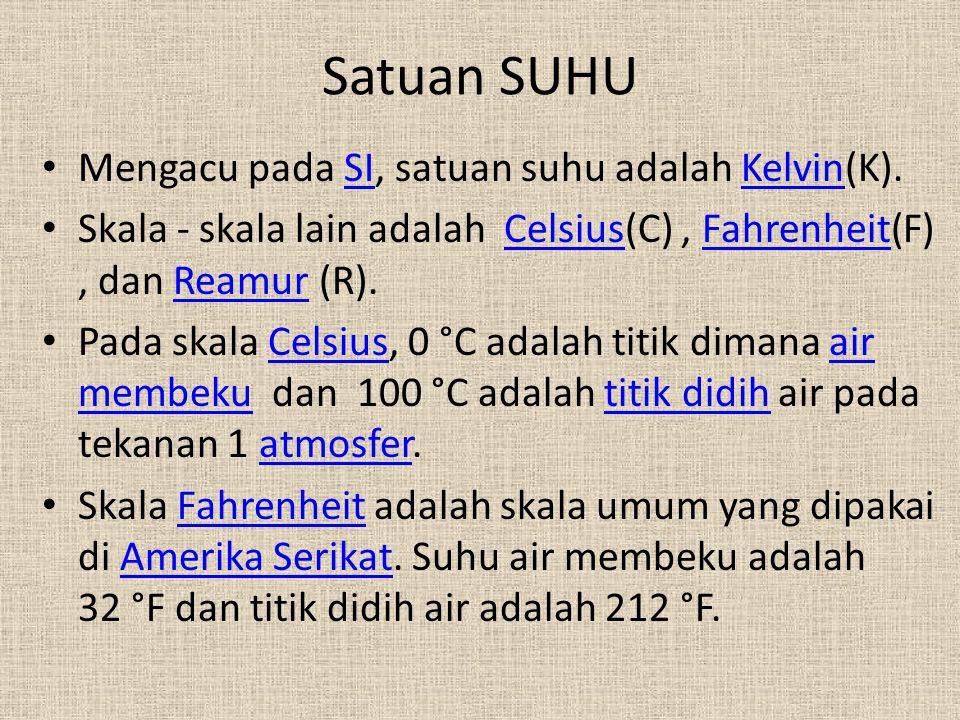 Satuan SUHU • Mengacu pada SI, satuan suhu adalah Kelvin(K).SIKelvin • Skala - skala lain adalah Celsius(C), Fahrenheit(F), dan Reamur (R).CelsiusFahr