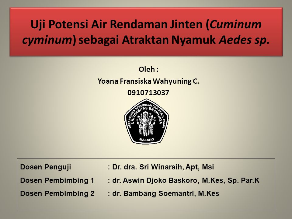 Uji Potensi Air Rendaman Jinten (Cuminum cyminum) sebagai Atraktan Nyamuk Aedes sp.