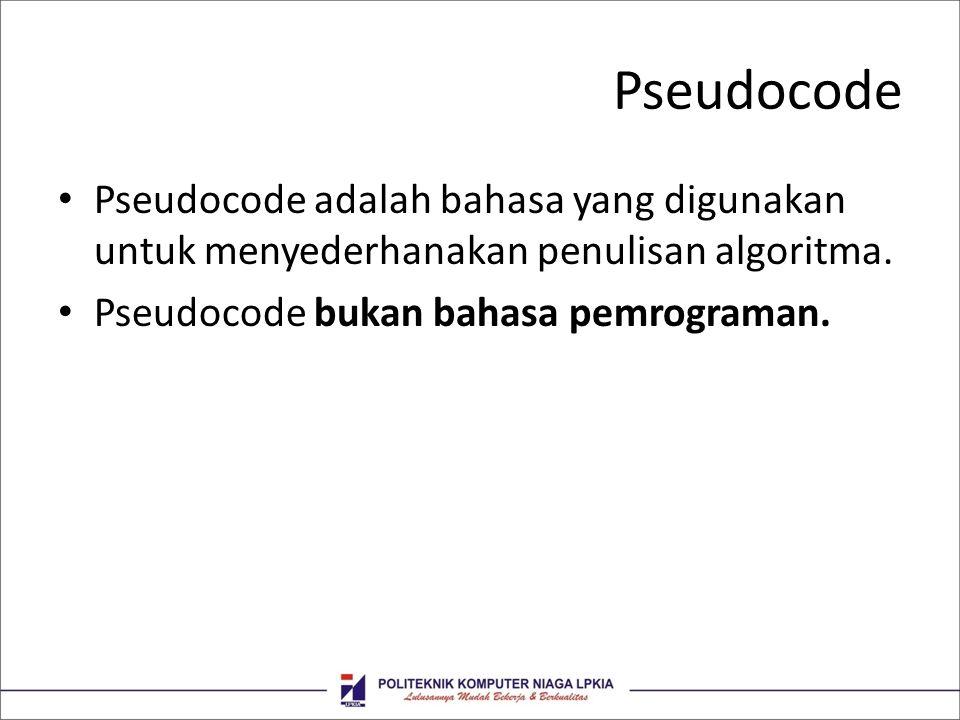 Pseudocode • Pseudocode adalah bahasa yang digunakan untuk menyederhanakan penulisan algoritma. • Pseudocode bukan bahasa pemrograman.