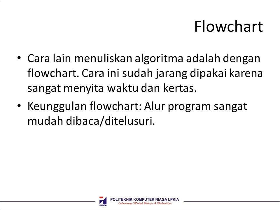 Flowchart • Cara lain menuliskan algoritma adalah dengan flowchart. Cara ini sudah jarang dipakai karena sangat menyita waktu dan kertas. • Keunggulan