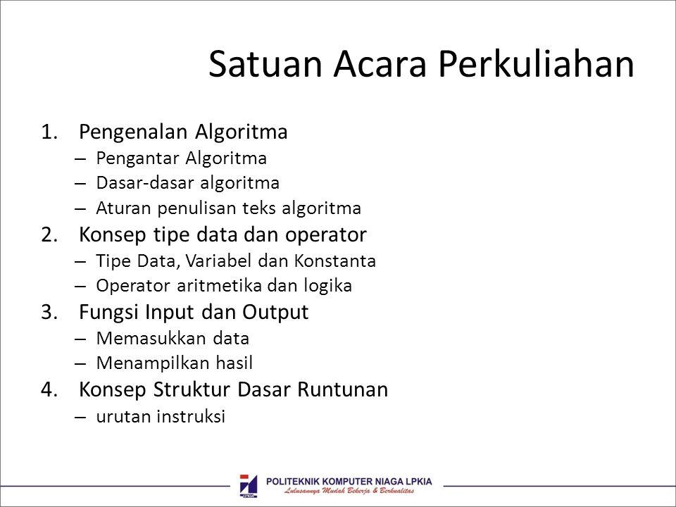 Satuan Acara Perkuliahan 1.Pengenalan Algoritma – Pengantar Algoritma – Dasar-dasar algoritma – Aturan penulisan teks algoritma 2.Konsep tipe data dan