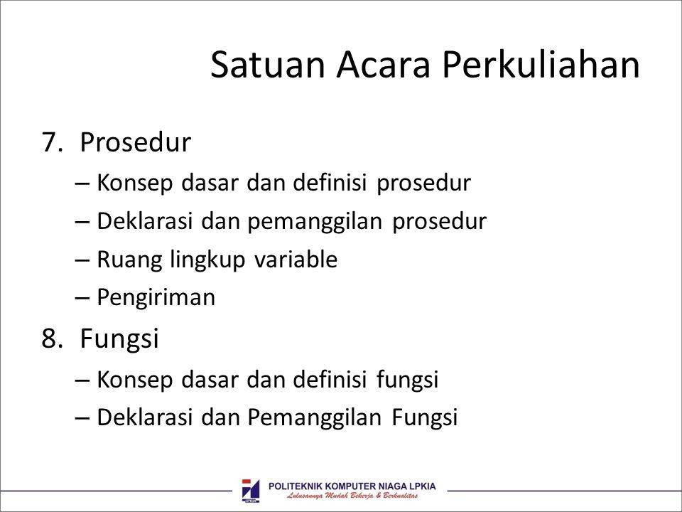 Satuan Acara Perkuliahan 7.Prosedur – Konsep dasar dan definisi prosedur – Deklarasi dan pemanggilan prosedur – Ruang lingkup variable – Pengiriman 8.